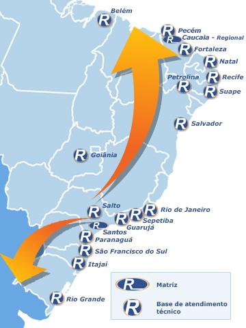 Mapas de Filiais - Assistência Técnica 24hs - Realreefer - Locação de Containers e Gensets